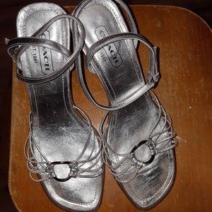 Coach shoes sandles silver